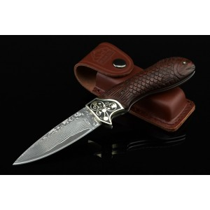 Damascus Steel Blade Brass Ebony Handle Damascus knife2645