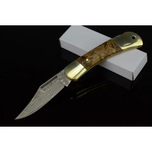 Damascus Steel Blade Wooden Handle Damascus Knife Pocket Knife2795