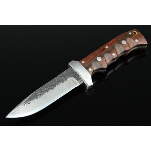 Pattern Steel Blade Hard Wood Handle Handcrafted Hunting Knife