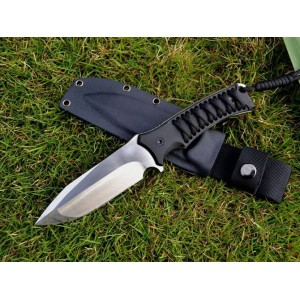 L.W. D2 Steel Blade G-10 Parachute Handle Military Knife with Kydex Sheath3302