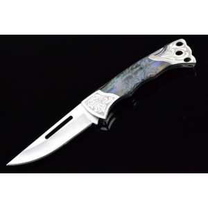 3Cr13 Stainless Steel Metal Bolster With Imitation Shell Handle Folding Blade Knife 3325