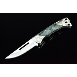 3Cr13 Stainless Steel Metal Bolster With Imitation Shell Handle Folding Blade Knife 3332