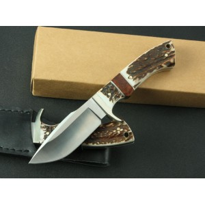 SOG 9Cr13Mov Steel Blade Brass Guard Wuth Anlter And  Hardwood Handle Fixed Blade Knife3370