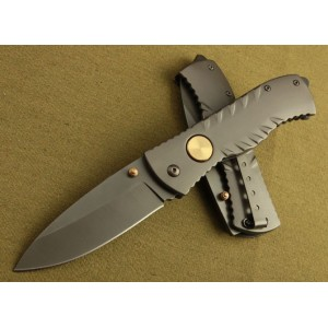 GB 3Cr13 Steel Blade Stainless Steel Handle Titanium Finish Liner Lock Pocket Suvival Knife3372