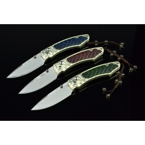Brass Imitation Bone Handle  Damascus Steel Pocket Knife-ZH160 3381