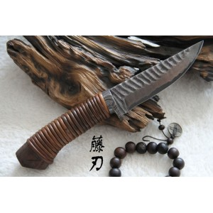 Exotic Wood Handl Damascus Collectible Hunting Knife3488