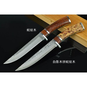 9CR18 Steel Blade Exotic Wood Handle Hunting Knife with Nylon Sheath Exqusite Box3880