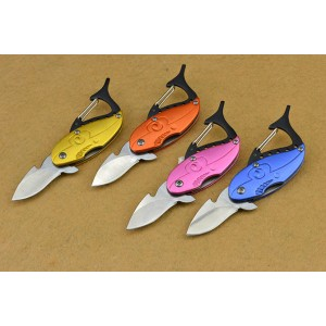 Mini Sharks.3Cr13Mov Steel Blade Aluminum Handle Quick-opening Knife with Carabiner4190