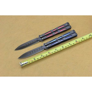 Benchmade 440 Stainless Steel Blade Metal Handle Black Titanium Finish Red&Blue Balisong Knife4547