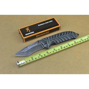 Browning 440 Stainless Steel Blade Metal Handle Stonewash Finish Pocket Knife4562