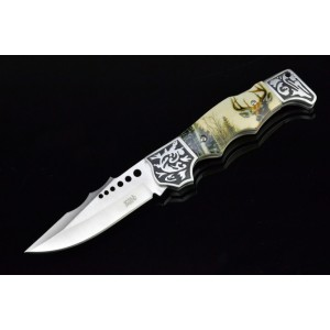 3cr13mov Steel Blade Metal Bolster with Bone Handle Back Lock Pocket Knife3549