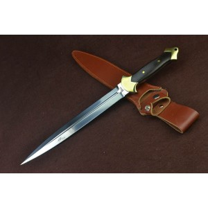 5Cr15Mov Steel Blade Copper Bolster Ebony Handle Mirror Finish Tactical Knife with Leather Sheath5070