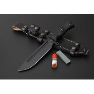 1095 Steel Blade G10 Handle Teflon Coated Finish Tactical Knife with Leather Sheath5025