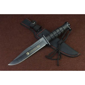Columbia 3Cr13Mov Steel Blade ABS Handle Black Finish Hunting Knife with Nylon Sheath5067