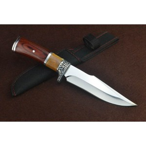 3Cr13Mov Steel Blade Metal Bolster Wood Handle Hunting Knife with Nylon Sheath5098