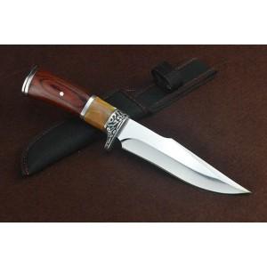 3Cr13Mov Steel Blade Metal Bolster Wood Handle Hunting Knife with Nylon Sheath5098