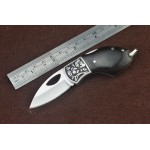 3Cr13Mov Steel Blade Metal Bolster Ebony Handle Back Lock Pocket Knife with Exquisite Box 4936