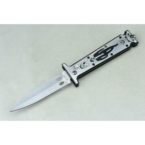 3Cr13Mov Steel Blade Aluminum Handle Satin Finish Push-botton Lock Pocket Knife3984