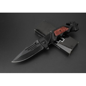 Boker.5Cr15MoV Steel Blade Metal Bolster Wood Handle Black Finish Pocket Knife4762