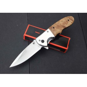 Boker.3Cr13MoV Steel Blade Metal Bolster Wood Handle Satin Finish Liner Lock Pocket Knife4642