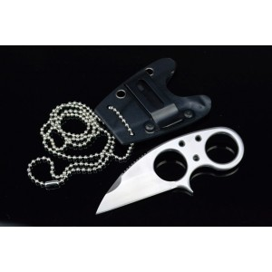 440C Stainless Steel Blade Metal Handle Satin Finish Neck Knife3621