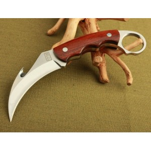 7Cr17MoV Steel Blade Red Wood Handle Mirror Finish Karambit Knife with Leather Sheath2583