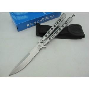 Benchamade.440 Stainless Steel Blade Metal Handle Satin Finish Balisong Knife2292