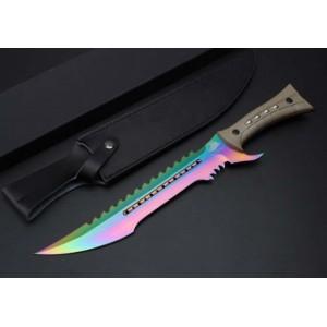 7Cr17MoV Steel Blade ABS Handle Rainbow Titanium Finish Machete with leather Sheath5204