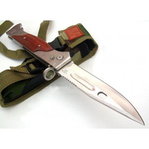 420 Stainless Steel Metal Bolster Red Wood Handle Satin Finish Big Folding Pocket Knife0244
