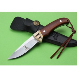 ElkRidge.440 Stainless Steel Blade Wooden Handle Satin Finish Fixed Blade Hunting Knife with Leather Sheath5230