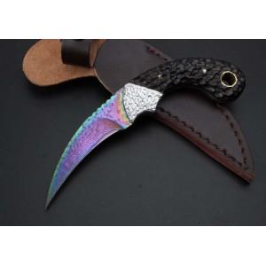 Damascus Steel Blade Damascus Bolster Ebony Handle Titanium Finish Karambit Claw Knife5225