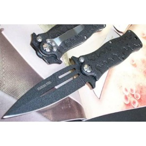 GB.440 Stainless Steel Blade Metal Handle Black Finish Combat Knife Folding Blade Knife0097