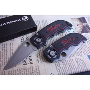 SR.440 Stainless Steel Blade Metal Handle Bead Blast Finish Back Lock Pocket Knife0985