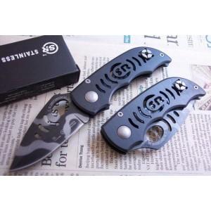 SR.440 Stainless Steel Blade Metal Handle Tiger Stripe Back Lock Pocket Knife0983