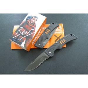 GB.420 Stainless Steel Blade Fiberglass Nylon Handle Titanium Finish Back Lock Survival Knife2051
