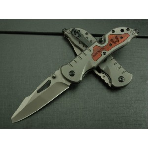 Benchmade.3Cr13MoV Steel Blade Metal Wood Inlay Handle Titanium Finish Liner Lock Survival Pocket Knife3836