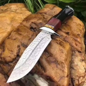 Damascus Steel Blade Metal Bolster Ebony Wood Handle Damascus Knife Fixed Blade Knife with Leather Sheath5847
