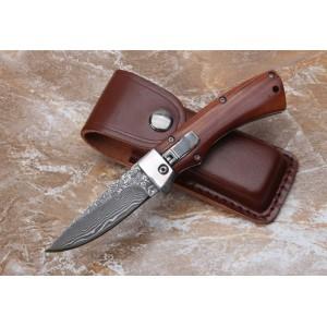 Damascus Steel Blade Metal Bolster Wood Handle Damascus Knife Folding Blade Knife5801