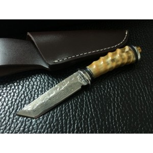 Forged Damascus Steel Blade Copper Bolster Horn Handle Damascus Knife Fixed Blade Knife5747