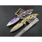 440C Steel Blade Metal Handle Titanium Finish Colorful Pocket Knife5899