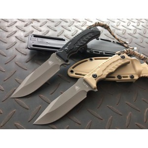 3Cr13MoV Steel Blade ABS Handle Titanium Finish Full Tang Fixed Blade Knife Survival Knife5892
