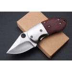 5Cr13MoV Steel Blade Metal Bolster Wood Handle Satin Finish Liner Lock Folding Blade Knife5673