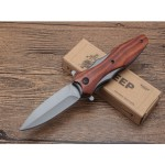 440C Steel Blade Metal&Rosewood Handle Titanium Finish Liner Lock Folding Blade Knife Pocket Knife5993