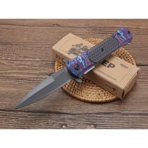 440C Steel Blade Metal Handle Titanium Finish Liner Lock Folding Blade Knife Pocket Knife