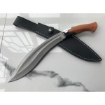 5Cr13MoV Steel Blade Ebony Handle Satin Finish Machete with Leather Sheath5996