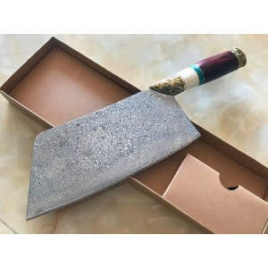 European Royal VG10 Damascus Blade Rosewood&OX Bone&Brass&Green Stone Handle Forged Damascus Finish Kitchen Knife5999